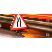 Quazar 600mm Cone Top 'Near Side Road Narrows' Sign - 7001