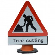 Quazar 600mm Cone Top 'Treecutting' Sign - 7001