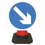 Quazar 600mm Cone Top 'Left/Right Arrow' Sign - 7001